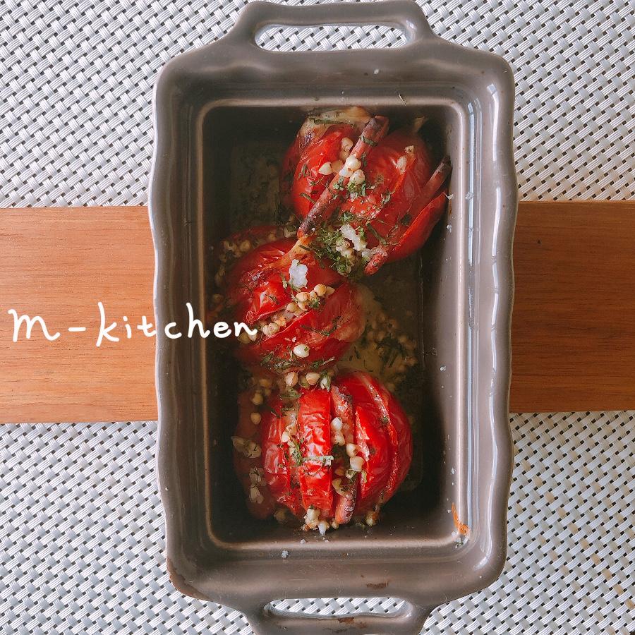 蕎麦の実とトマトのグリル
